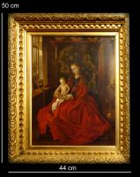 An European painting in metal with gilt-wood frame
