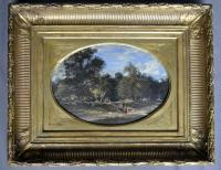 A French oval oil painting signed Giroux. Half of 19th century.