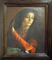 A Spanish oil on wood. Signed F. Masriera. Ca 1930.